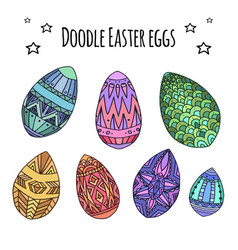 set of colorful festive doodle eggs with boho vector image vector image