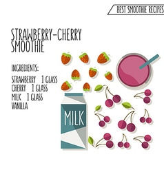 Strawberry cherry smoothie recipe hand dr vector