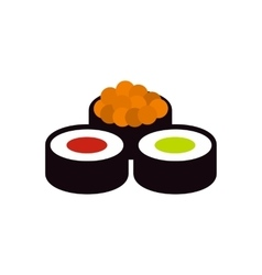 Sushi rolls icon flat style vector