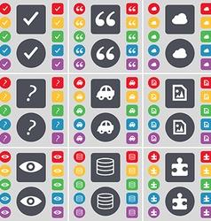 Tick quotation mark cloud question mark car media vector