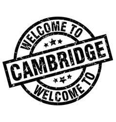 welcome to cambridge black stamp vector image vector image