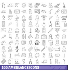 100 ambulance icons set outline style vector image