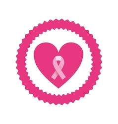 Pink emblem with heart and symbol breast cancer vector