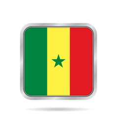 Flag of senegal shiny metallic gray square button vector