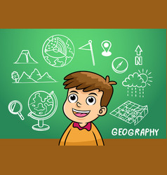 School boy write geography sign object in school vector