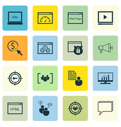Set of 16 seo icons includes coding vector