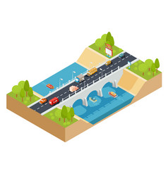 3d isometric cross section of a landscape vector