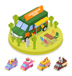 isometric street vegeterian food truck with people vector image