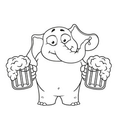 Elephant he holds a mug of beer vector