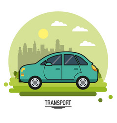 Colorful poster of transport with automobile on vector