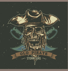 Poster design with dead pirate in hat vector