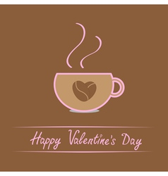 Cup with coffee seeds heart happy valentines day vector