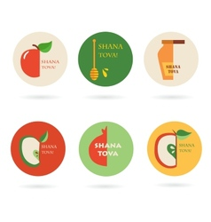 Set of labels and cards for jewish holiday rosh vector