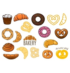 Outlined and cartooned buns cake croissants donuts vector