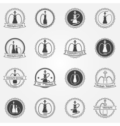 Hookah club icons set vector