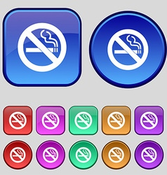 No smoking icon sign a set of twelve vintage vector