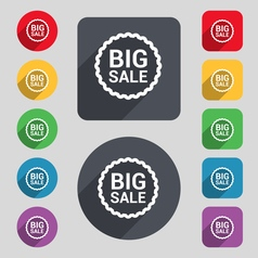 Big sale icon sign a set of 12 colored buttons and vector