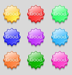 Good sign icon symbols on nine wavy colourful vector