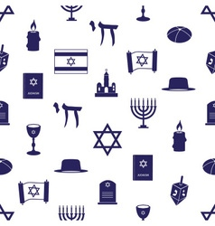 Judaism religion symbols seamless blue pattern vector