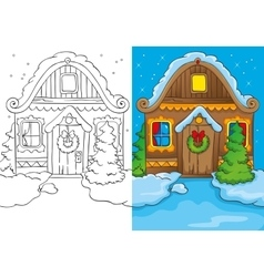 Coloring book of christmas house at night vector