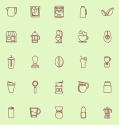 Coffee and tea brown color line icons vector