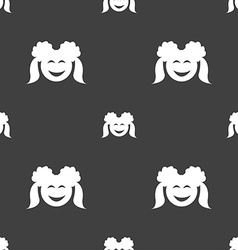 Smiling girl icon sign seamless pattern on a gray vector
