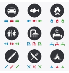 Hiking travel icons camping shower and toilet vector