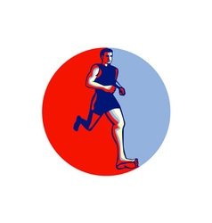 Barefoot Runner Running Front Circle vector image