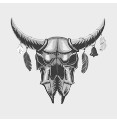 Bull skull isolated on white Ethnic sign vector image vector image