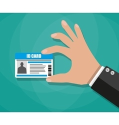 Businessman hand holding id card vector