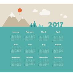 Calendar 2017 with mountain week starts sunday vector