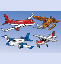 collection of modern airplane colored version vector image
