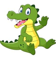 Cute crocodile waving hand isolated vector image