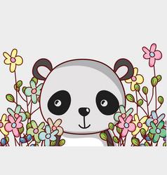 Cute panda bear doodle cartoon vector