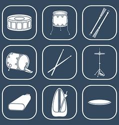 Drum icons silhouette flat design vector