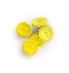 flat cartoon golden casino chips isolated vector image