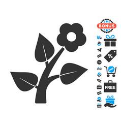 Flower plant icon with free bonus vector
