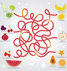 fruit labyrinth game for Preschool Children vector image