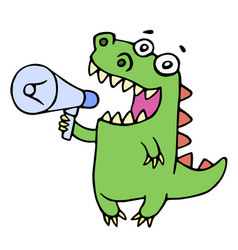 Funny smiling dinosaur shouting in megaphone vector
