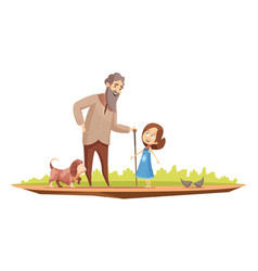 grandparent senior character outdoor cartoon vector image
