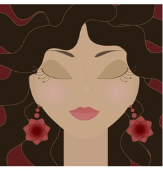 Gypsy girl with closed eyes vector