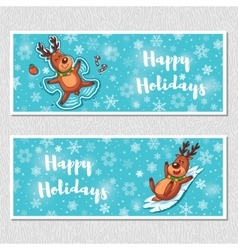 Happy Holidays horizontal banners with cute vector image