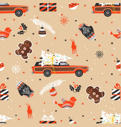merry christmas seamless pattern with christmas vector image