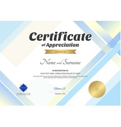 modern certificate of appreciation template with vector image vector image