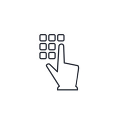 Pin code keypad access security lock hand vector