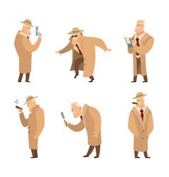 policeman or detective search criminal set vector image vector image