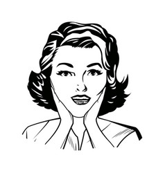 Portrait woman pop art surprised expression black vector