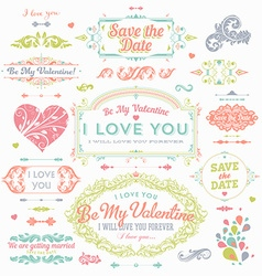 Retro Valentine and Wedding Icons vector image vector image
