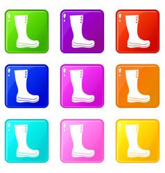 Rubber boots set 9 vector