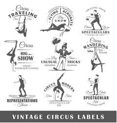 Set of vintage circus labels vector